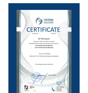 Certificate FEK Company